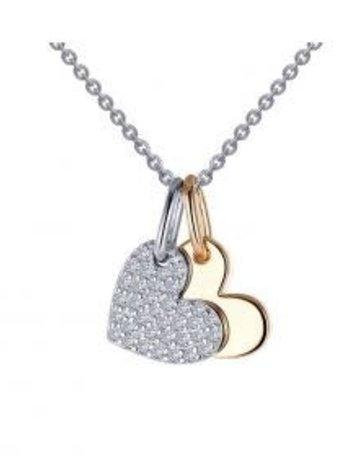 Lafonn Lafonn Sterling Silver Two Toned .35cttw Stone Heart Shaped Pendant Necklace