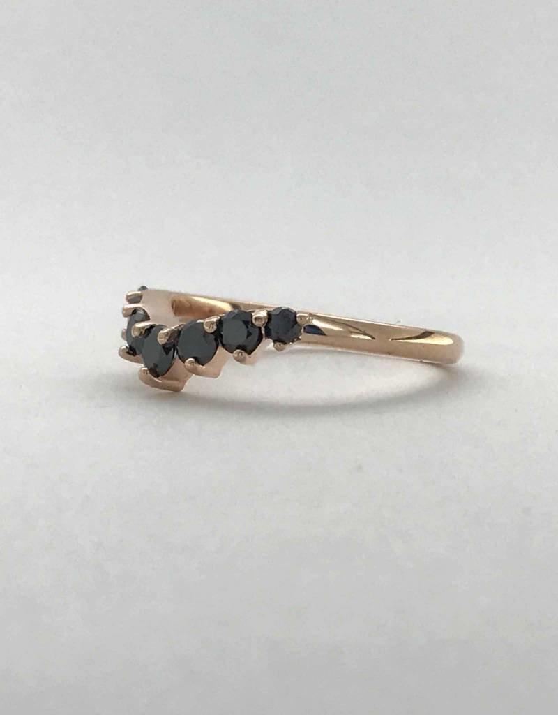 14k Rose Gold .45ctw Black Diamond 7-Stone Contour Arch Stackable Wedding Band (Size 6)