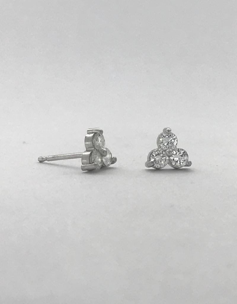 American Jewelry 14k White Gold .36ctw White Diamond Trio Stud Earrings