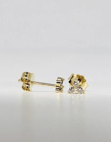 American Jewelry 14k Yellow Gold .10ctw Diamond Mini Trio Stud Earrings