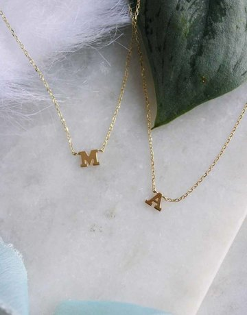 "14k Yellow Gold ""A"" Letter Initial Necklace (Adjustable 16-18"")"