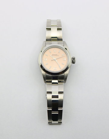 American Jewelry Stainless Steel Preowned Ladies Oyster Perpetual Rolex with Salmon Dial, Smooth Bezel & Oyster Band