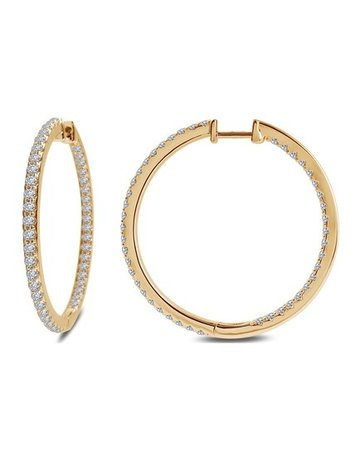 Lafonn Lafonn 1.16cttw 116 Stones 35mm Inside Out Hoop Earrings (Gold)