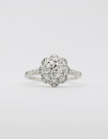 American Jewelry 14k White Gold .87ct-Ctr 1/2ctw-Mntg Old European Cut Diamond Halo Engagement Ring with Round Brilliant & Marquise Accents (Size 6.5)