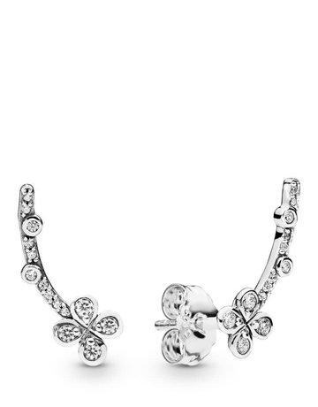 Pandora PANDORA Earrings, Draped Four Petal Flower, Clear CZ