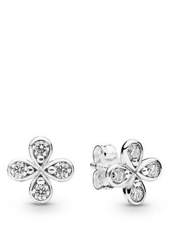 Pandora PANDORA Stud Earrings, Four Petal Flower, Clear CZ