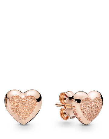 Pandora PANDORA Rose Stud Earrings, Matte Brilliance Hearts
