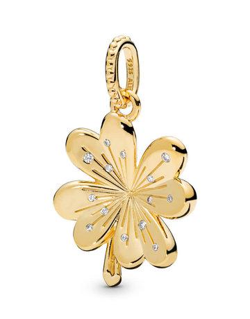 Pandora PANDORA Shine Pendant, Lucky Four Leaf Clover, Clear CZ