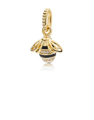 Pandora PANDORA Shine Pendant, Queen Bee, Black Enamel & Clear CZ