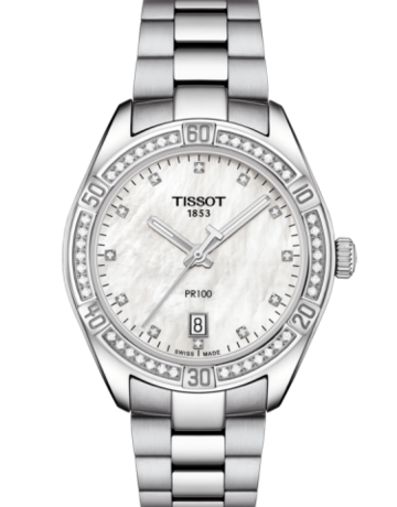 Tissot Tissot PR 100 Sport Chic Ladies Watch with .34ctw Diamonds & Mother of Pearl Dial