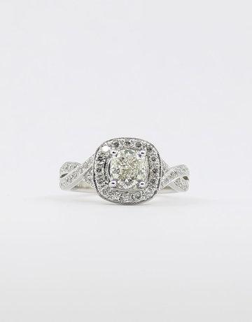 American Jewelry 14k White Gold 1.02ct-Ctr J/VS1 1.5ctw Cushion Cut & Round Brilliant Diamond Halo Engagement Ring (Size 5.5)