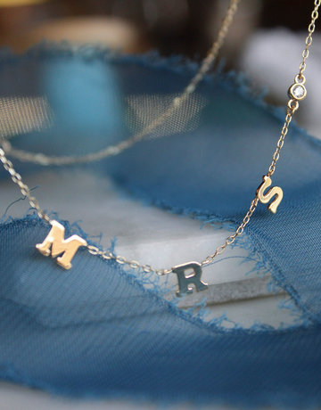 "14K Yellow Gold ""MRS."" 0.06ctw Diamond Letter Necklace (16""-18"")"