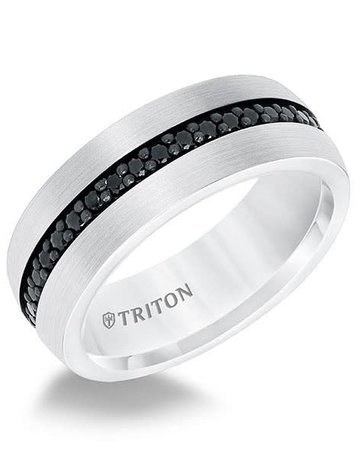 American Jewelry White Tungsten 8mm Black Sapphire Gents Triton Wedding Band (Size 10)