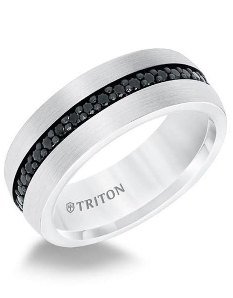 It is a picture of White Tungsten 41mm Black Sapphire Gents Triton Wedding Band (Size 41)