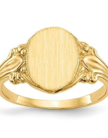 American Jewelry 14k Yellow Gold Engravable Oval Scroll Signet Ring (Size 6)