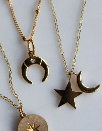 """American Jewelry 14k Yellow Gold Crescent Moon & Star Charm Necklace (20"""")"""