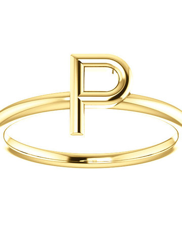 "American Jewelry 14k Yellow Gold ""P"" Initial Stackable Ring (Size 7)"