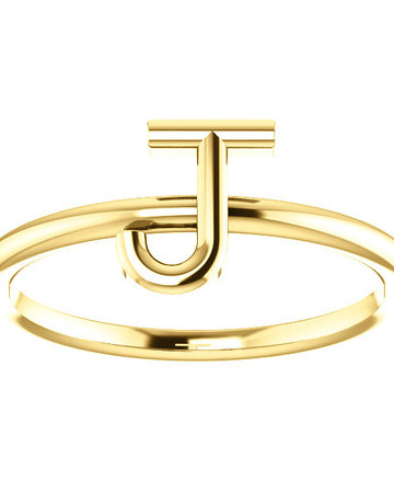 "American Jewelry 14k Yellow Gold ""J"" Initial Stackable Ring (Size 7.5)"