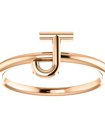 "American Jewelry 14k Rose Gold ""J"" Initial Stackable Ring (Size 7.5)"
