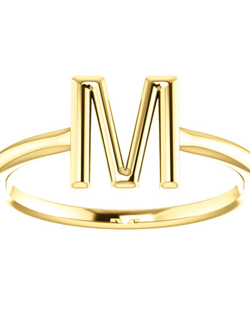 "American Jewelry 14k Yellow Gold ""M"" Initial Stackable Ring (Size 6.5)"