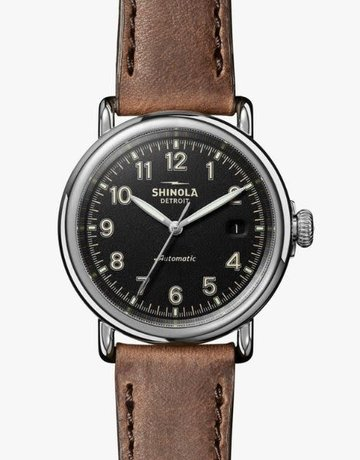 Shinola Shinola Automatic Runwell 39.5mm British Tan Leather Strap Black Matte Dial Polished Stainless Steel