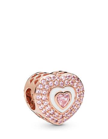 Pandora PANDORA Rose Charm, Hearts on Hearts, White Enamel & Pink Crystals