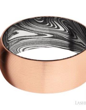 Lashbrook Lashbrook 14k Rose Gold 9mm Domed Damascus Steel Marble Pattern Sleeve Men's Wedding Band (Size 10)