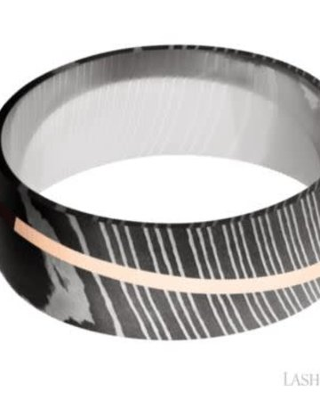 Lashbrook Lashbrook 8mm Polish Damascus Steel Diagonal 14k Rose Gold Inlay Domed Men's Wedding Band (Size10)