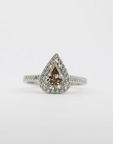 American Jewelry Platinum 1.18ctw Pear Chocolate & Round Brilliant White Diamond Handmade Halo Engagement Ring (Size 6.5)
