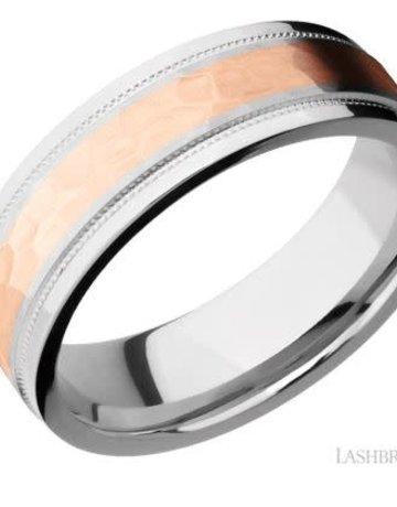 Lashbrook Lashbrook Cobalt Chrome 7.5mm 14k Rose Gold Hammered Inlay Step Edge Men's Wedding Band (size 10)