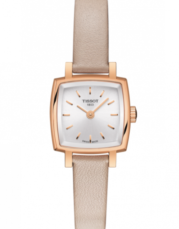 Tissot Tissot T-Lady Lovely Square Rose Tone Ladies Watch with Pink Leather Strap