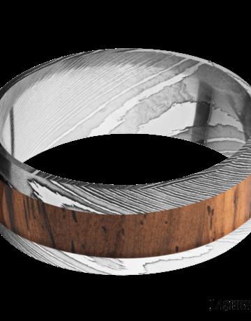 Lashbrook Lashbrook 9mm Polish Damascus Steel with Natural Cocobolo Wood Inlay Men's Wedding Band (Size 10)