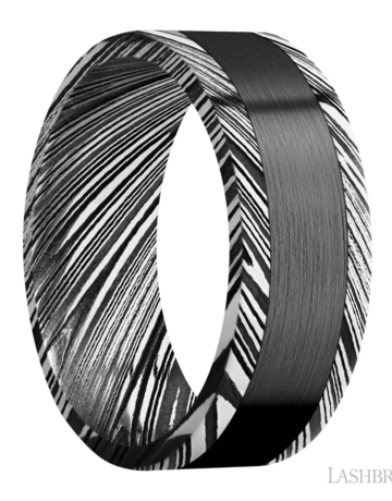 Lashbrook Lashbrook 8mm Flat Edge Acid Wood Grain Damascus Steel with Satin Zirconium Inlay Men's Wedding Band (Size 10)