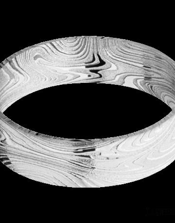 Lashbrook Lashbrook 6mm Polish Marble Damascus Steel Domed Men's Wedding Band (Size 10)