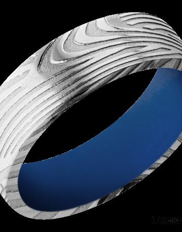 Lashbrook Lashbrook 7mm Flat Edge Sunset Damascus Steel with Royal Blue Cerakote Sleeve Men's Wedding Band (Size 10(