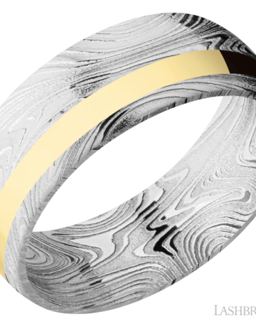 Lashbrook Lashbrook 8mm Domed Polished Damascus Steel with 14k Yellow Gold Off-Set Inlay Men's Wedding Band (Size 10)