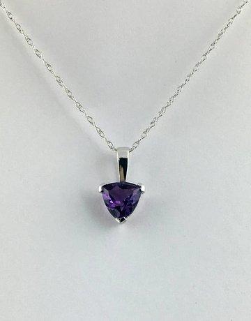 10k White Gold Trillion (February Birthstone) Amethyst Pendant Necklace
