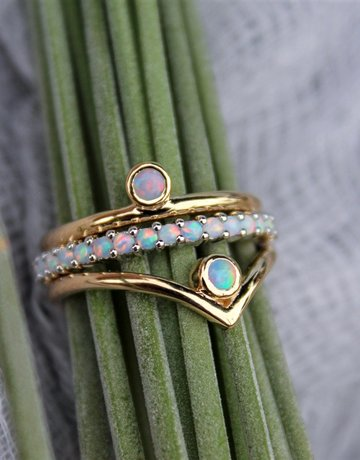 "American Jewelry 14k Yellow Gold 3mm Geniune Ethiopian Opal Bezel Set Nesting ""V"" Band Stackable Ring (Size 7)"