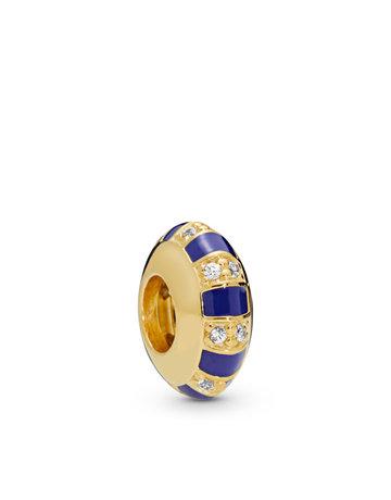 Pandora PANDORA Shine Spacer, Exotic Stones & Stripes, Blue Enamel & Clear CZ