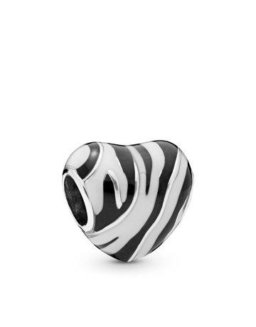Pandora PANDORA Charm, Wild Stripes, Black & White Enamel