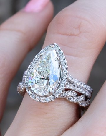 American Jewelry Platinum 3.02ct I/SI2 Pear Cut Diamond Halo Engagement Ring (Size 6)