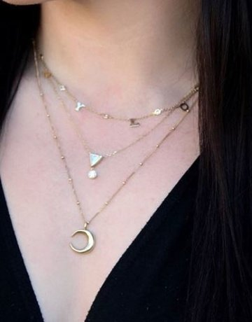 """American Jewelry 14k Yellow Gold High-Polished Large Crescent Moon Necklace (20"""")"""