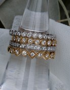 American Jewelry 14k White Gold .19ctw Diamond Bezel Station Stackable Wedding Band (Size 6)