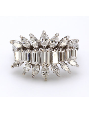 American Jewelry 18k White Gold 2.3ctw Baguette & Marquise Diamond Ladies Ring (Size 6.5)