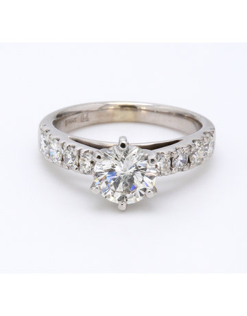 American Jewelry 14k White Gold 1.07ct-Ctr (G-H/I1) 1/2ctw-Mntg Round Brilliant Diamond Engagement Ring (Size 4.5)