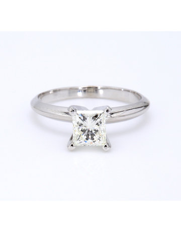 American Jewelry 14k White Gold .88ct K/IF GIA Princess Cut Diamond Solitaire Engagement Ring (Size 5)