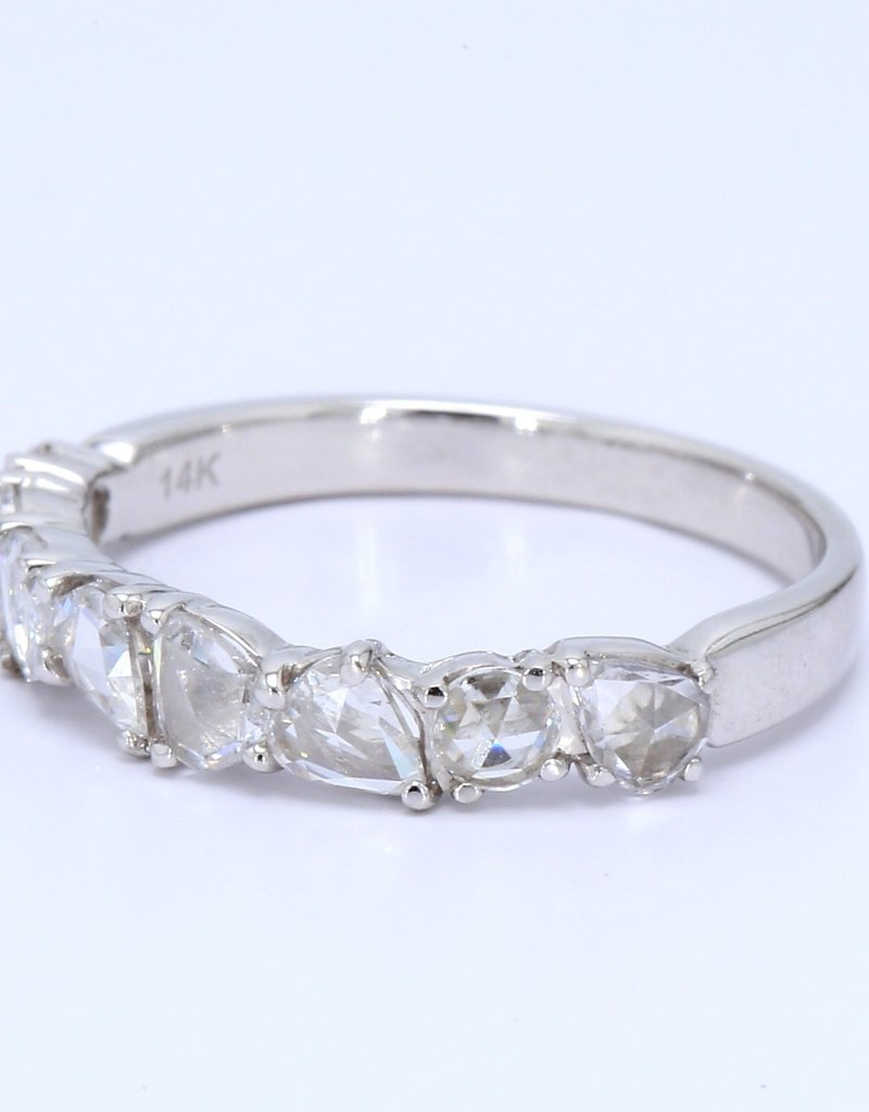 American Jewelry 14k White Gold 0.64ctw Rose Cut Pear & Round Diamond (VS) Stackable Wedding Band (Size 6)