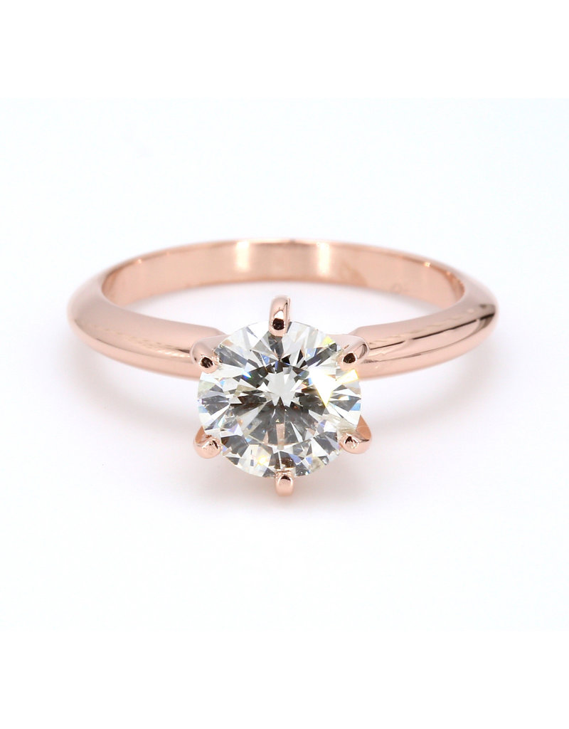 American Jewelry 14k Rose Gold 1.45ct I/I1 Round Brilliant Diamond Solitaire Engagement Ring (Size 6)