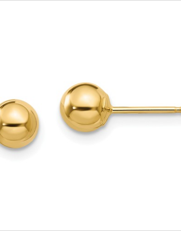 American Jewelry 14k Yellow Gold 5mm Ball Stud Earrings