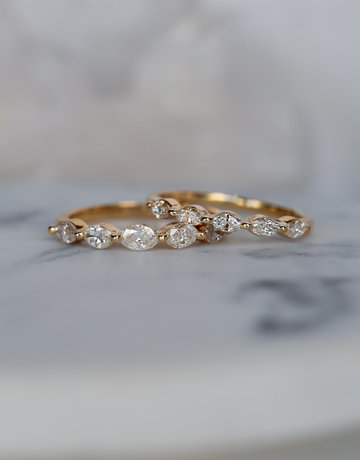 American Jewelry 14k Yellow Gold Mini Marquise 1/3ctw Diamond  Single Prong Stackable Wedding Band (Size 6)